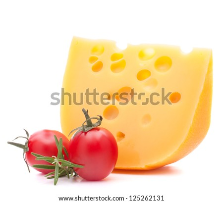 Cheese and cherry tomato isolated on white background cutout