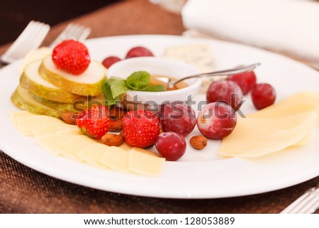 cheese and fruits for appetizer