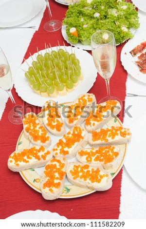 cheese and grape canape-sandwich - stock photo