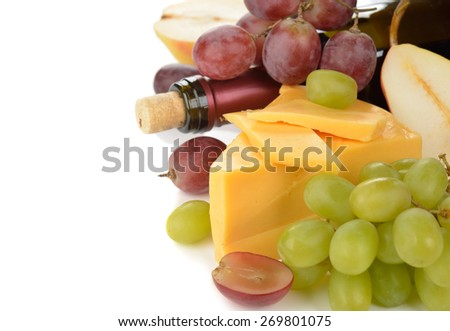 Cheese and grapes on a white background - stock photo