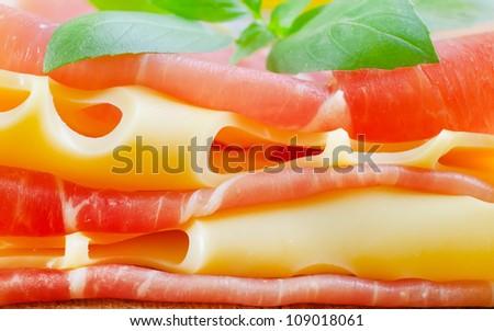 cheese and ham - stock photo