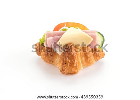 cheese and ham croissant on white background - stock photo