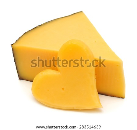 Cheese and heart from cheese isolated on white background