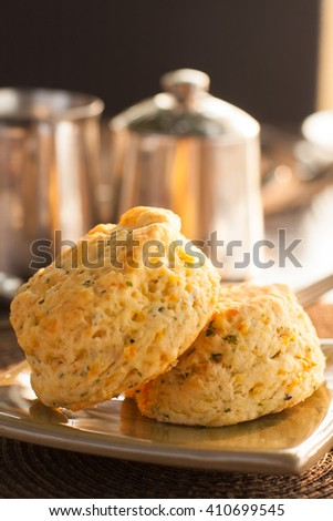 Cheese and Herb Scones served for breakfast - stock photo