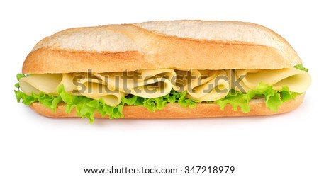 cheese and lettuce sub isolated on white background - stock photo