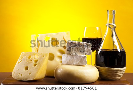Cheese and red wine - stock photo