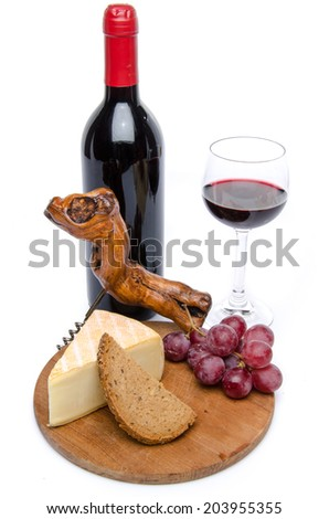 Cheese and red wine, isolated on white