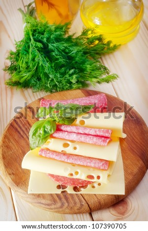 cheese and salami - stock photo