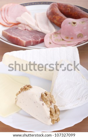 cheese and sausage, food photo - stock photo