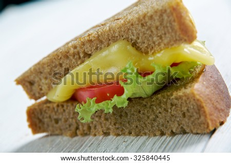 Cheese and tomato traditional sandwich. close up