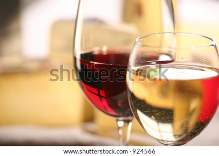 cheese and two glasses of wine - stock photo