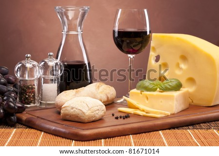 Cheese and wine composition - stock photo