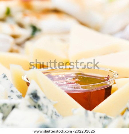 Cheese appetizer with honey macro. Dor Blue Cheese plate with  honey