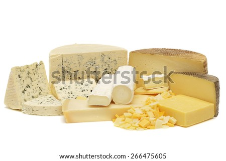 Cheese assortment isolated on white - stock photo