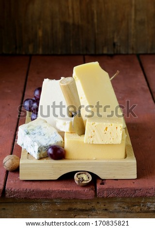 Cheese assortment served on a wooden board with grapes - stock photo