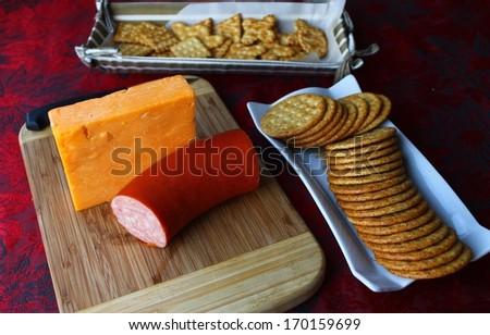 Cheese block background - stock photo