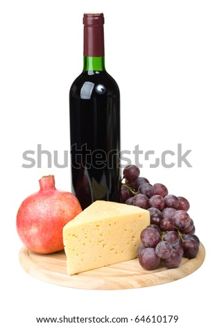 Cheese, board, grapes and wine - stock photo