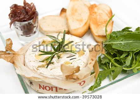 cheese board with camembert ploughman - stock photo