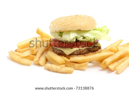cheese burger and French fries isolated in white background
