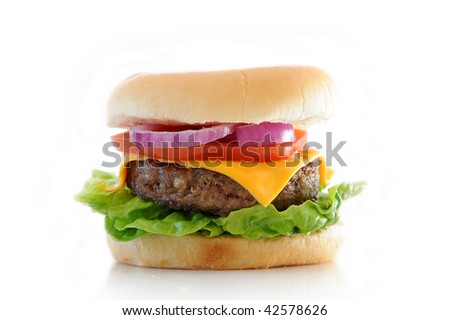 Cheese burger isolated against a white background - stock photo