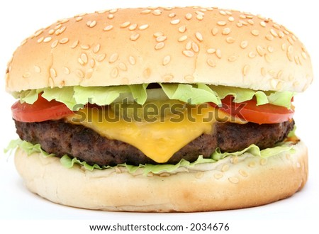 Cheese burger with lettuce cheese and tomato, isolated over white, macro, close up with copy space - stock photo