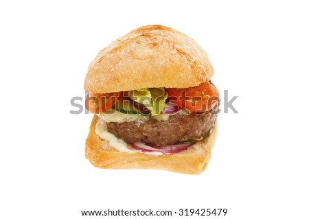 Cheese burger with salad in a sourdough bun isolated against white - stock photo