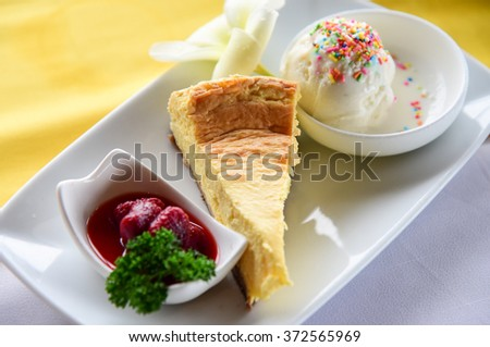 Cheese cake and ice cream