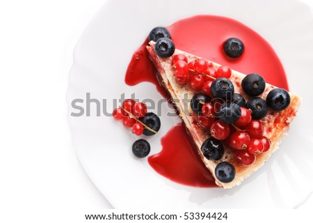 Cheese cake New-York with berries (top view) - stock photo