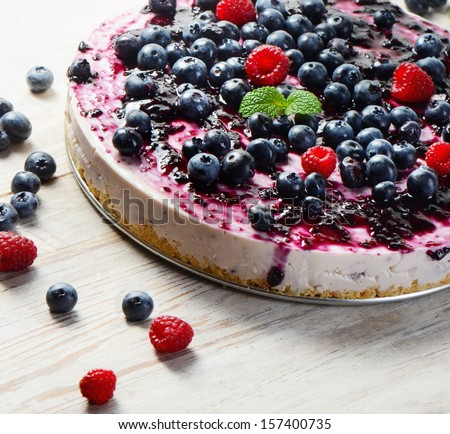 cheese cake  on wooden table. Selective focus - stock photo
