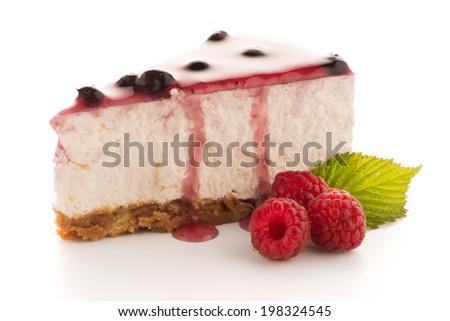 Cheese Cake slice on white background. - stock photo