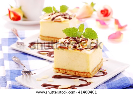 cheese cake with almonds and chocolate
