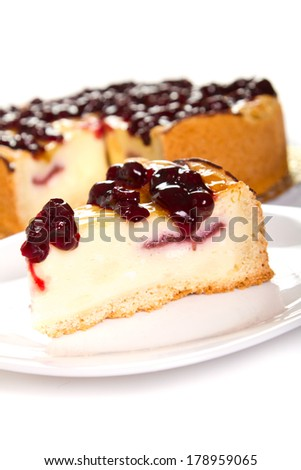 Cheese cake with cherry  topping