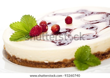 Cheese cake with wild strawberries. Close up. - stock photo