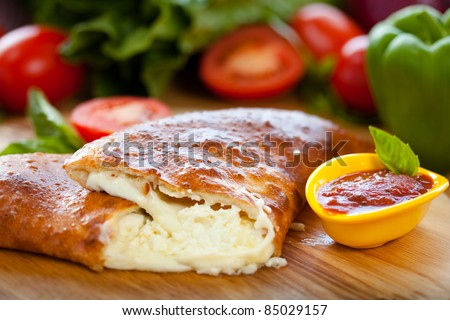 Cheese Calzone 3 - stock photo