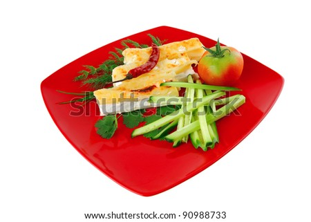 cheese cannelloni served with vegetables on red plate - stock photo
