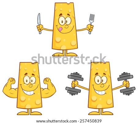 Cheese Cartoon Mascot Character 3. Raster Collection Set Isolated On White - stock photo