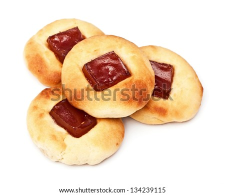 cheese cookies with fruit jelly isolated on the white - stock photo