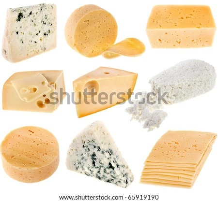 cheese curd cottage collection set isolated on white background - stock photo
