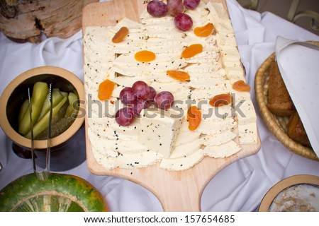 Cheese desk wedding with elegant grapes