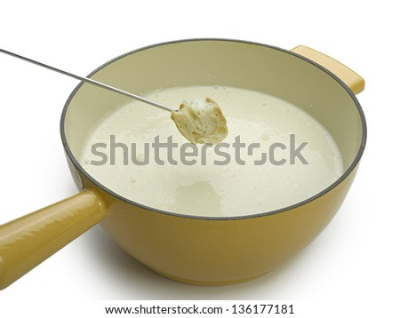 cheese fondue isolated on white - stock photo