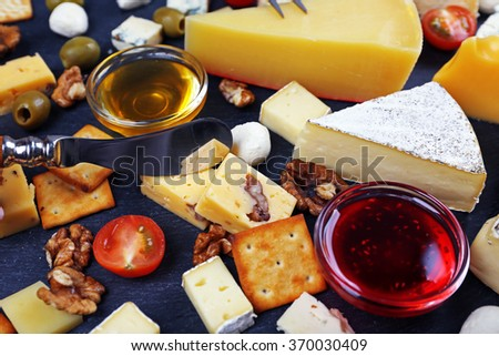 Cheese for tasting, top view