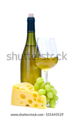 cheese, grapes and wine isolated on a white background