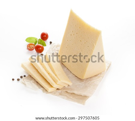 cheese isolated on a white background with tomatoes and basil - stock photo