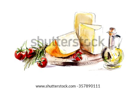 Cheese. Menu. Food composition. Watercolor hand drawn illustration - stock photo