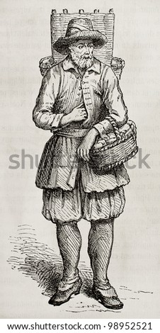 Cheese merchant old engraved portrait. Created by Rocault, published on Magasin Pittoresque, Paris, 1882 - stock photo