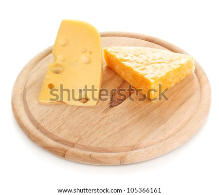 Cheese on cutting board isolated on white