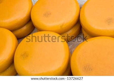 Cheese on market in Alkmaar Holland - stock photo