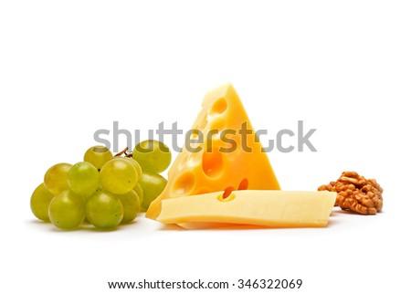 Cheese on white - stock photo