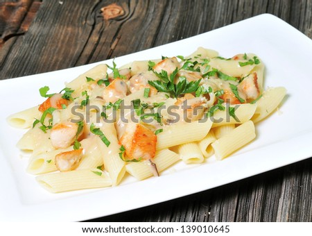 Cheese Penne Pasta with Chicken and Mushroom