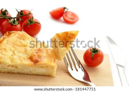 Cheese pie with tomatos - stock photo